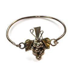 Grape Design Sterling Silver Bangle Bracelet Mexico Hook Clasp