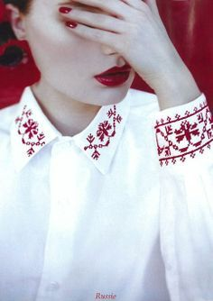 Floral cross stitch embroidery on shirt cuffs and collar. Scandinavian or Eastern European? Embroidery Fashion, Embroidery Dress, Embroidery Stitches, Hand Embroidery, Embroidery Designs, Russian Embroidery, Fashion Details, Diy Fashion, Womens Fashion