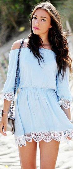 powder blue off-shoulder dress w/crochet trim