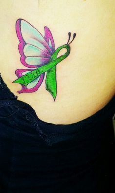 Lymphoma cancer butterfly tattoo, symbolizes lisa's last thing i saw her wearing, i keep her near my heart. pink lime teal butterfly