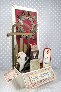 I absolutely fell in love with this vintage Door box card designed  by SVG Cuts. I made this for the Think Christmas Blog Hop.   You can read more about it here: http://suesstampingstuff.blogspot.com/2015/11/think-christmas-blog-hop_6.html