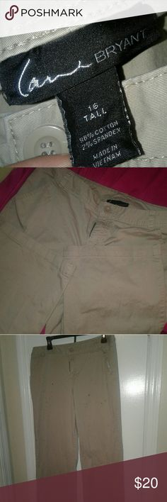 Lane Bryant Khaki Pants Size 16 Tall Like new condition... worn once! I accidentally bought Tall and thought I could get away with it..NOPE!! LOL My mistake is Your Gain!! Show no signs of wear! *Misplaced my Iron..Sorry about the few wrinkles ????* Lane Bryant Pants Boot Cut & Flare