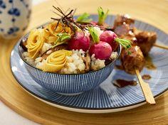 Kruidige rijst met shiitakes en geroosterde radijsjes. #rijst #shiitakes #radijs #recept #inspiratie #bosto