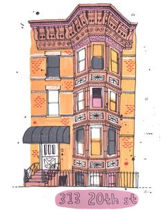 Illustrated New York James Gulliver Hancock graphics Building Drawing, Building Sketch, Building Illustration, House Illustration, Graphic Prints, Poster Prints, City Drawing, Drawing Stuff, Brooklyn Brownstone