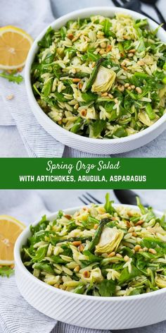 This spring orzo salad is full of bright and fresh flavors that will make you happy from the very first bite! Crisp asparagus, spicy arugula, and flavorful pine nuts are all dressed in a springy basil lemon vinaigrette. Diet Recipes, Vegetarian Recipes, Cooking Recipes, Healthy Recipes, Orzo Salad Recipes, Pasta Salad, Lemon Orzo Salad, Arugula Recipes, Rice Salad