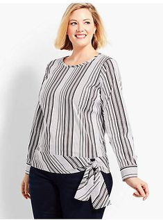 Shop Talbots for modern classic women's styles. You'll be a standout in our Poplin Side-Tie Top - Parlor Stripe - only at Talbots! Plus Size Summer Dresses, Plus Size Outfits, Plus Size Fashion For Women, Plus Size Women, Plus Size Blouses, Plus Size Tops, Tunic Designs, Kurti Designs Party Wear, Plus Size Swimwear