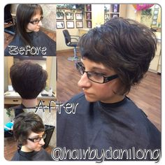 Long to short long curly pixie haircut