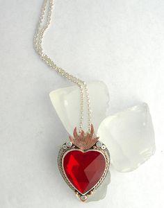 Flaming Heart Pendant, Sacred Heart Pendant, Ruby Red Heart Pendant