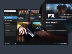 Favorites TV [WIP] by Blaze Pollard Mobile Ui Design, Ui Ux Design, Interface Design, Box Design, User Interface, Tv App, App Ui, Digital Tv, 2 Movie