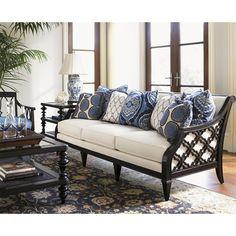 Royal Kahala Bay Club Exposed Wood Sofa with Quatrefoil Design by Tommy Bahama Home - Baer's Furniture - Sofa Miami, Ft. Lauderdale, Orlando, Sarasota, Naples, Ft. Myers, Florida