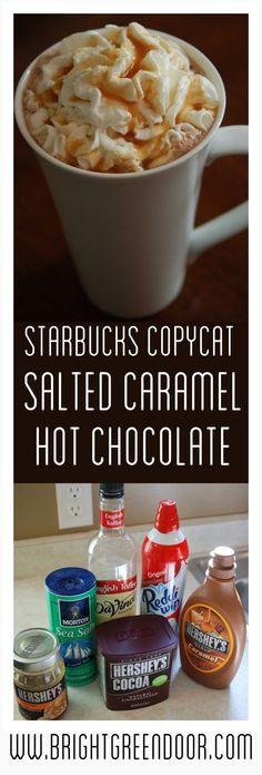 Starbucks Copycat Salted Caramel Hot Chocolate, Fall Drink Recipe, Starbucks Copycat Recipe, Starbucks Hot Cocoa Recipe http://www.BrightGreenDoor.com