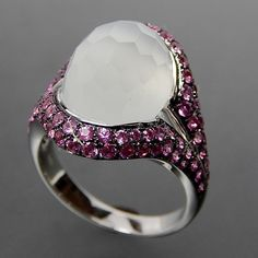 Divine 18k White Gold Faceted Fancy Cut Moonstone & Pink Sapphires Coc – Gold Stream Boutique