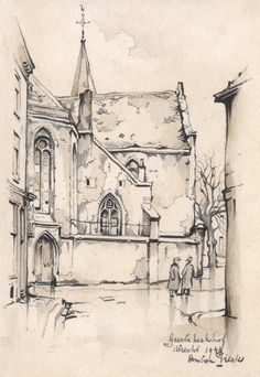 Anton Pieck (1895-1987), Geerte Kerkhof Utrecht - potlood, conté en aquarel op papier - 1944 - gesigneerd