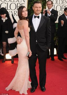 Megan Fox and husband Brian Austin Green pose on the red carpet at the Golden Globes held at the Beverly Hilton Hotel in Los Angeles on Sunday Golden Globes 2013, Golden Globe Award, Jessica Chastain, Blake Lively, Zuhair Murad, Elie Saab, Celebrity Couples, Celebrity Style, Christian Dior
