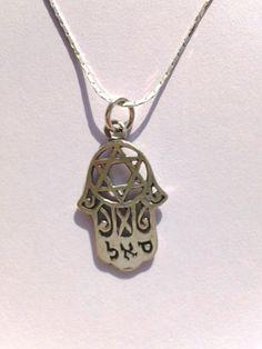 Necklace sterling silver Hamsa SAL pendant star of David