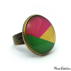 Tricolor fancy ring - The #jewelry of the day! More info at misscabochon.com
