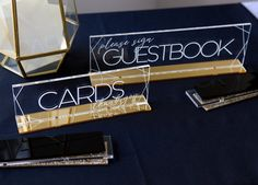 Cards & Guestbook Signs SET Clear Acrylic Wedding Decor or