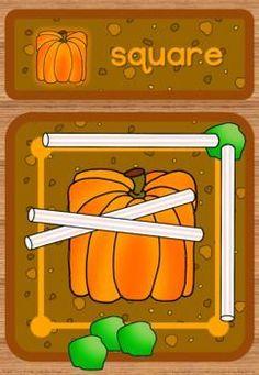 Pumpkin math center shapes - constructing shapes Pumpkin Life Cycle, Little Learners, Preschool Math, A Pumpkin, Math Centers, Homeschool, Shapes, Activities, Fun