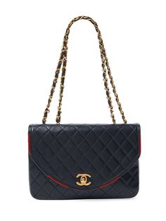 Navy Quilted Lambskin Round Flap Small
