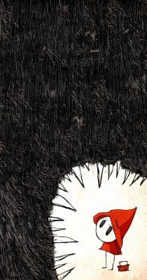 scary but awesome red riding hood and wolf's mouth illustration