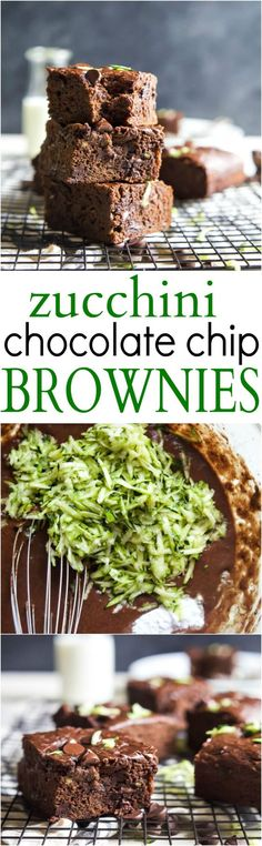 Zucchini Chocolate Chip Brownies that are oil, butter, and egg free AND naturally sweetened! These brownies are extra chocolatey, loaded… Mini Desserts, Easy Desserts, Delicious Desserts, Yummy Food, Zucchini Desserts, Zucchini Brownies, Paleo Brownies, Oreo Dessert, Dessert Bars