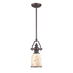 66432-1  Chadwick 1-Light Pendant Cappa Shell in Oiled Bronze