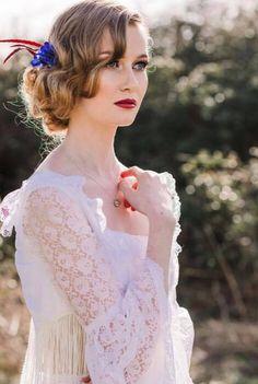 Dramatic Wedding Makeup with a Boho Twist #dramaticmakeup #redlips #bohoweddingideas