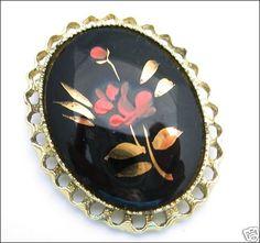 Painted PINK GOLDTONE FLOWER BLACK GLASS BROOCH Vintage | eBay $7.99