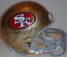 SOLD OUT! 2013 SF 49ers team signed Riddell full size football helmet w/ proof photo. Proof photo of the 49ers signing will be included with your purchase along with a COA issued from Southwestconnection-Memorabilia, guaranteeing the item to pass authentication services from PSA/DNA or JSA. Free USPS shipping. www.AutographedwithProof.com is your one stop for autographed collectibles from San Francisco sports teams. Check back with us often, as we are always obtaining new items.