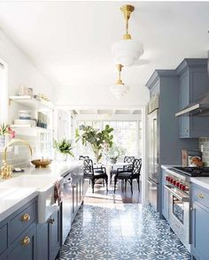 Galley kitchens are an inevitable part of most small homes. Get small galley kitchen design ideas and decorating inspiration to make the most of yours! Kitchen Interior, New Kitchen, Kitchen Decor, Kitchen White, Country Kitchen, Rustic Kitchen, 1960s Kitchen, Gold Kitchen, Narrow Kitchen