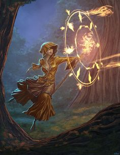 A magic-user employing a spell of flying and another spell which launches bolts of fire at a target area.