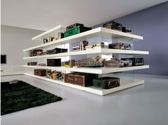 Open freestanding wood and glass bookcase AIR   Open bookcase