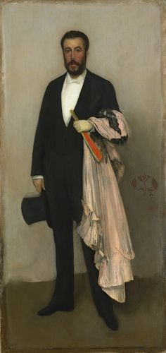 Arrangement in Flesh Colour and Black: Portrait of Théodore Duret, 1883  James McNeill Whistler (American, 1834–1903)  Oil on canvas    76 1/8 x 35 3/4 in. (193.4 x 90.8 cm)  Catharine Lorillard Wolfe Collection, Wolfe Fund, 1913 (13.20)