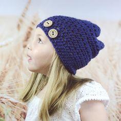 4b44ea7841c Crochet Spring Beanie Hat for Kids in Cobalt Blue
