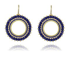 Blue and Gold big round earrings Gold plated earrings by Dutchini