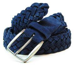 cintura intrecciata scamosciata blu