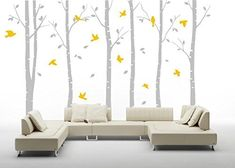 Six large birch trees vinyl wall decal sticker yellow leaves mural wall art for room decoration