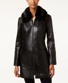 Anne Klein Faux-Fur-Collar Leather Walker Coat | macys.com