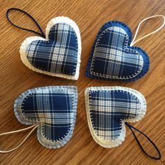 Tartan Heart Decorations, Christmas Decorations, Christmas Tree Decoration Set, felt christmas ornaments