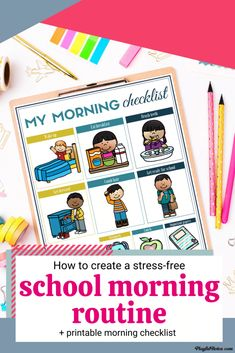 Are you looking for the best school morning routine for kids? Check out these 5 easy tips that will help you enjoy stress-free mornings and download a printable school morning routine checklist to use with your kids! - Back to school tips | Parenting tips