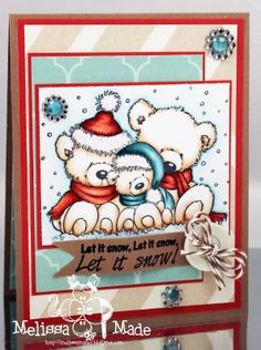 Copic card using the Wild Rose Studio - Christmas Teddies stamp.  Made by Melissa