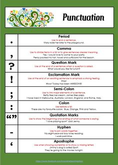 Free Punctuation Poster for your Classroom — Edgalaxy: Cool Stuff for Nerdy teachers