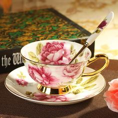 2014 New England red rose bone china cup ceramic coffee cup and saucer coffee cup coffee cup suit British child(China (Mainland))