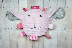 Baby Girl Easter Basket Toy Plush Lamb Baby Toy Pink by JuteBaby, $30.00