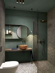 a creative small bathroom with a green wall, terrazzo flooring and wall, a wooden floating vanity and a coral bowl sink You are in the right place about rectangular bathroom mirror H