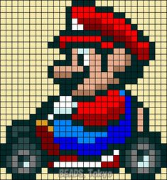 Mario Kart Perler Bead Pattern - BEADS.Tokyo Perler Beads, Hama Beads Mario, Hama Beads Patterns, Beading Patterns, Super Mario, Cross Stitch Embroidery, Cross Stitch Patterns, Mario Kart, Mario Bros
