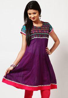 Cotton Printed Purple Kurta Online Shopping - Gili   GI526WA88XBBINDFAS