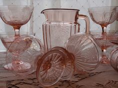 Pink depression glass. I got a bunch of this when my grandma died. I love it and hope to keep adding to it.