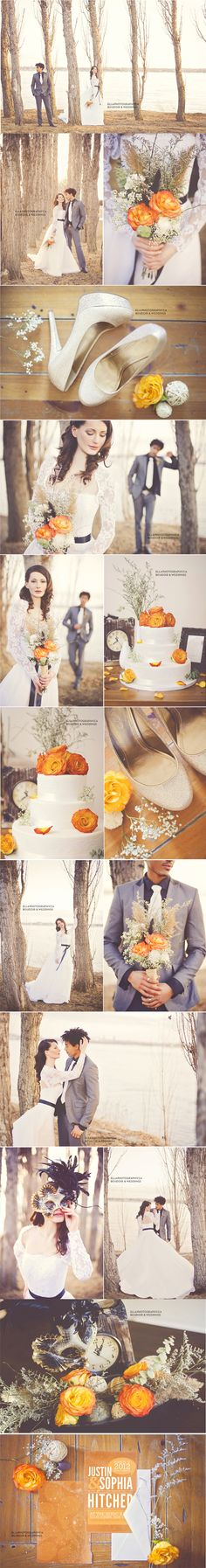 ADD diy <3 www.customweddingprintables.com <3 ...Tangerine wedding I love those flowers whatever they are!