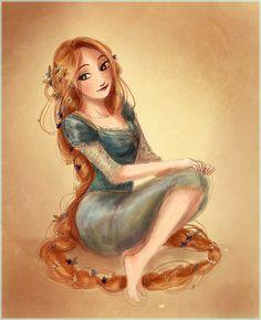 """Cress. :)  twogranniesandanaxe: """"Rapunzel in a blue dress."""""""